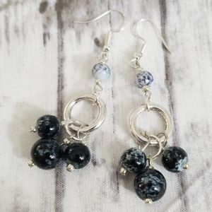 Fun black and white glass beaded earrings